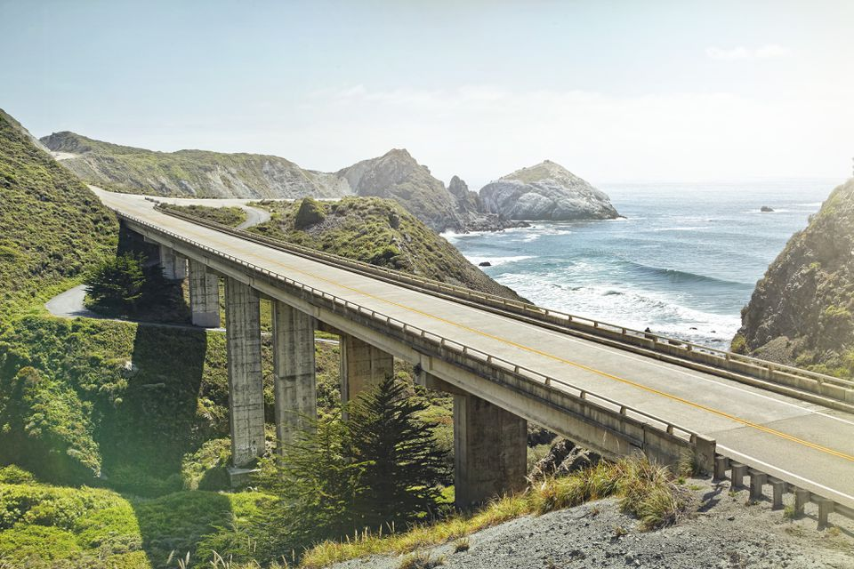 Empty bridge overlooking the sea on The Pacific Coast Highway