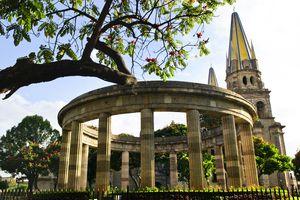 Beautiful view of Jalisciences and Guadalajara Cathedral