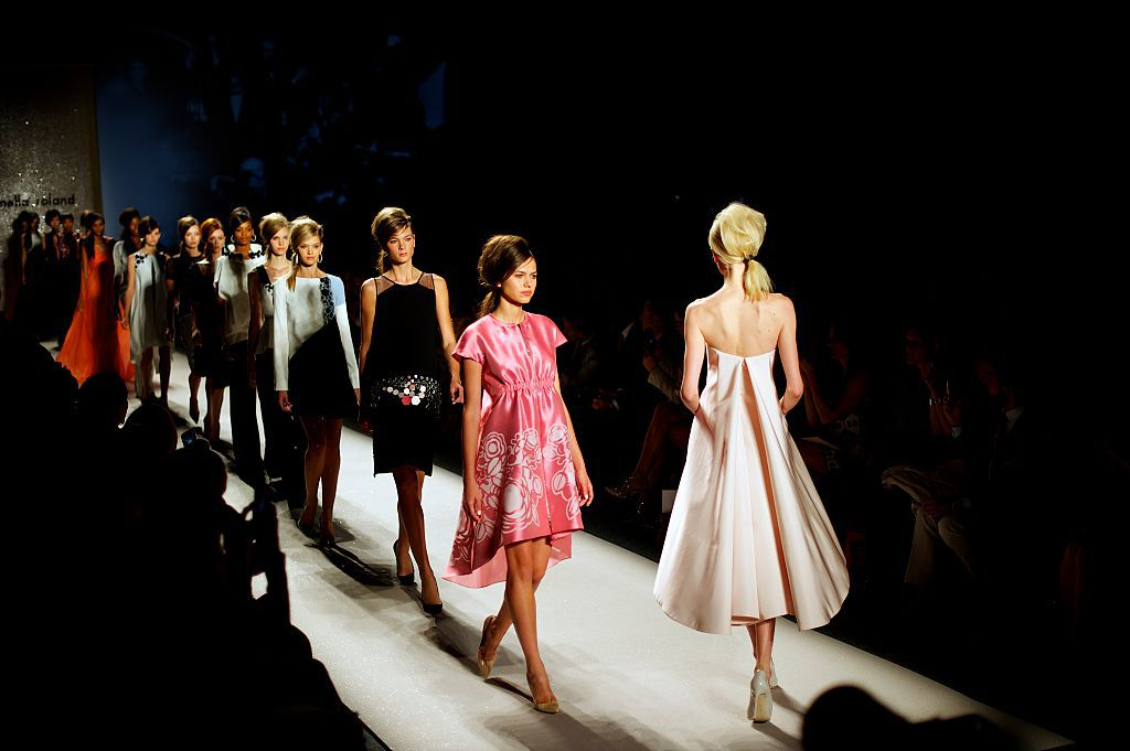 Models use the catwalk at the Pamella Roland show during New York Fashion Week