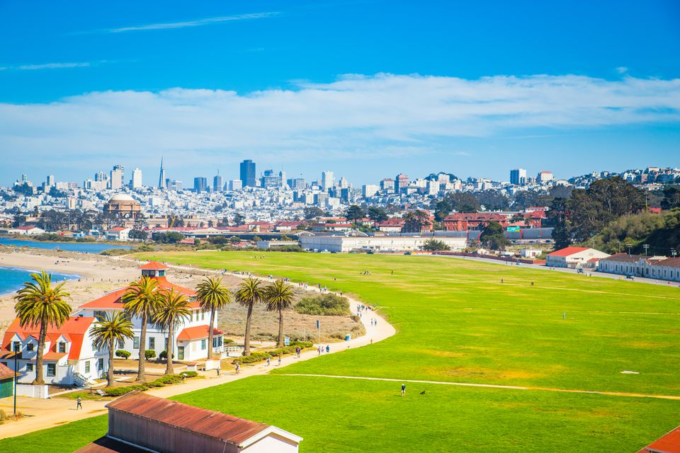 San Francisco skyline with Crissy Field, California, USA