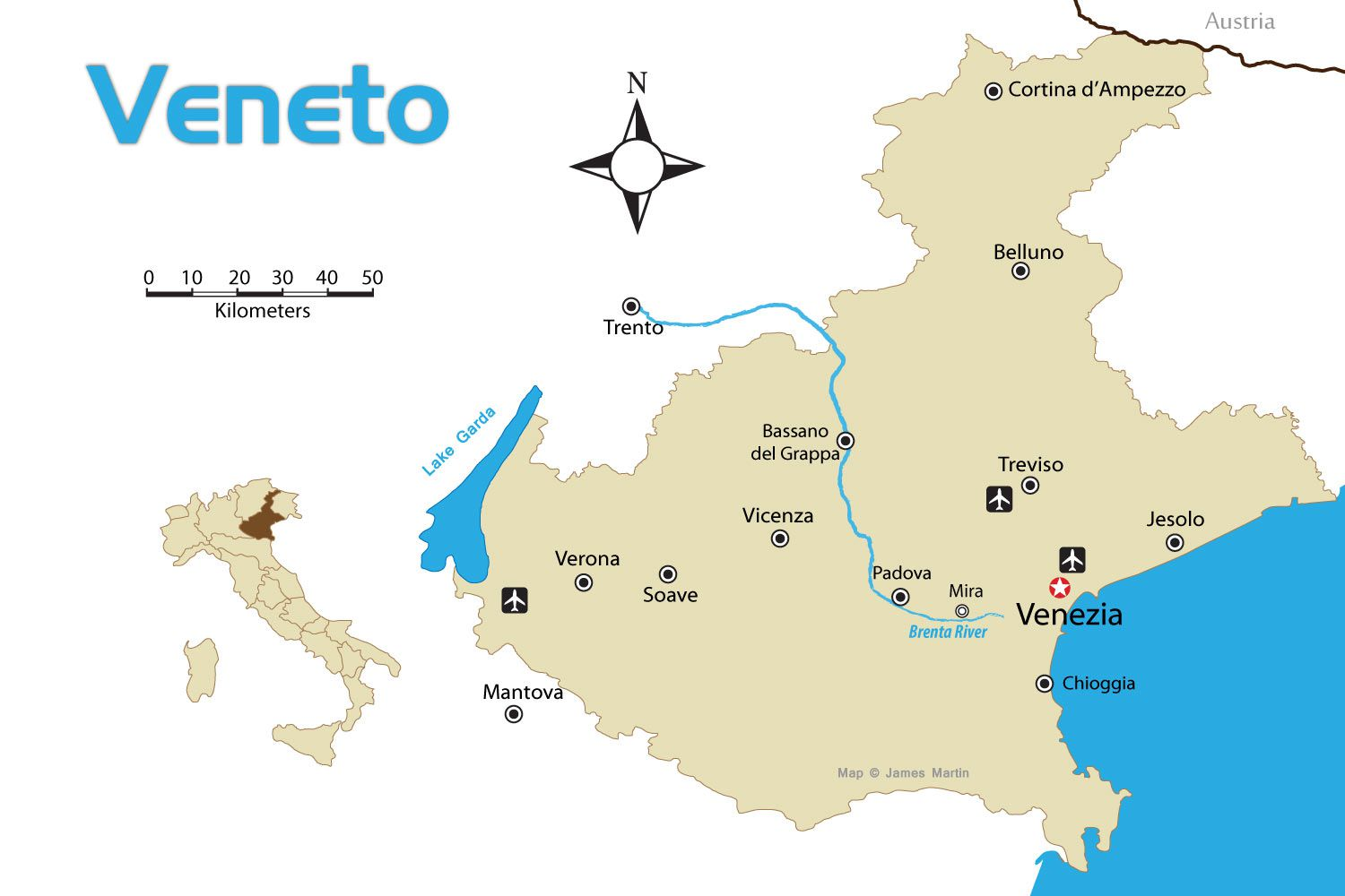 Veneto Region of Northern Italy Tourist Map With Cities on