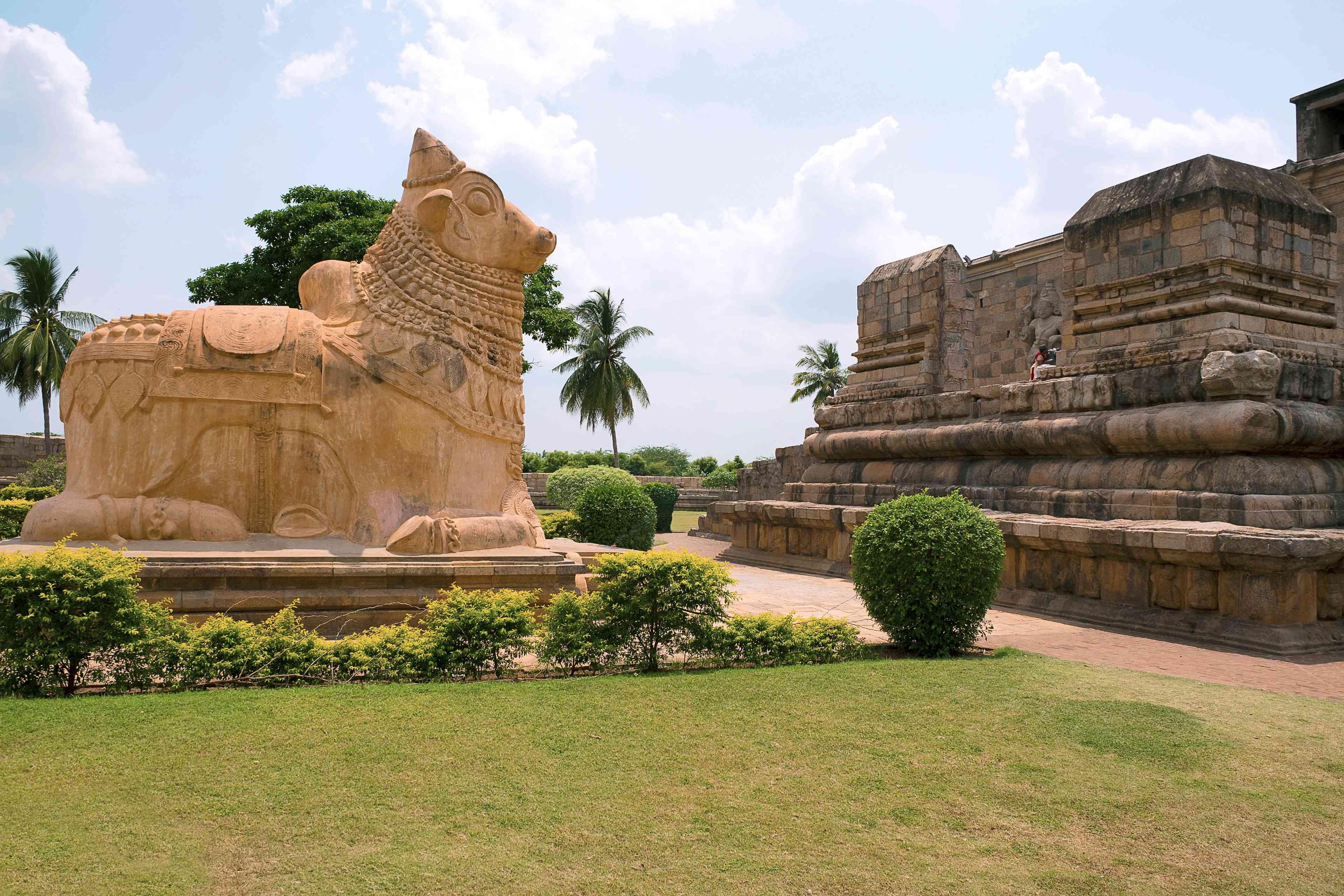 Huge Nandi bull at the entrance, Brihadisvara Temple, Gangaikondacholapuram, Tamil Nadu