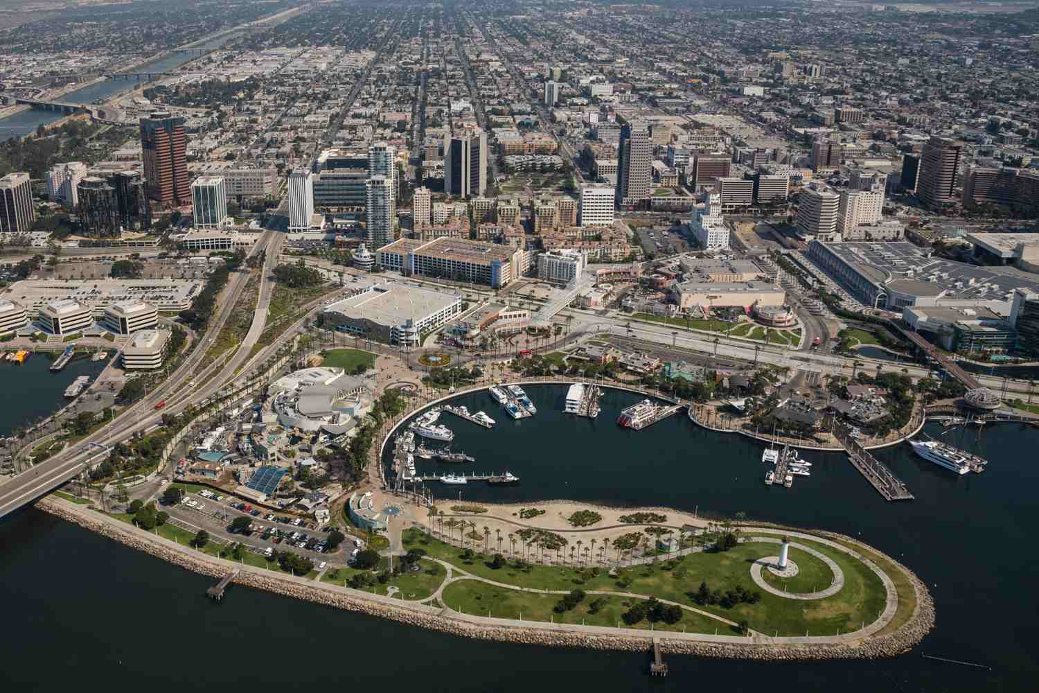 Aerial view of Downtown Long Beach, CA