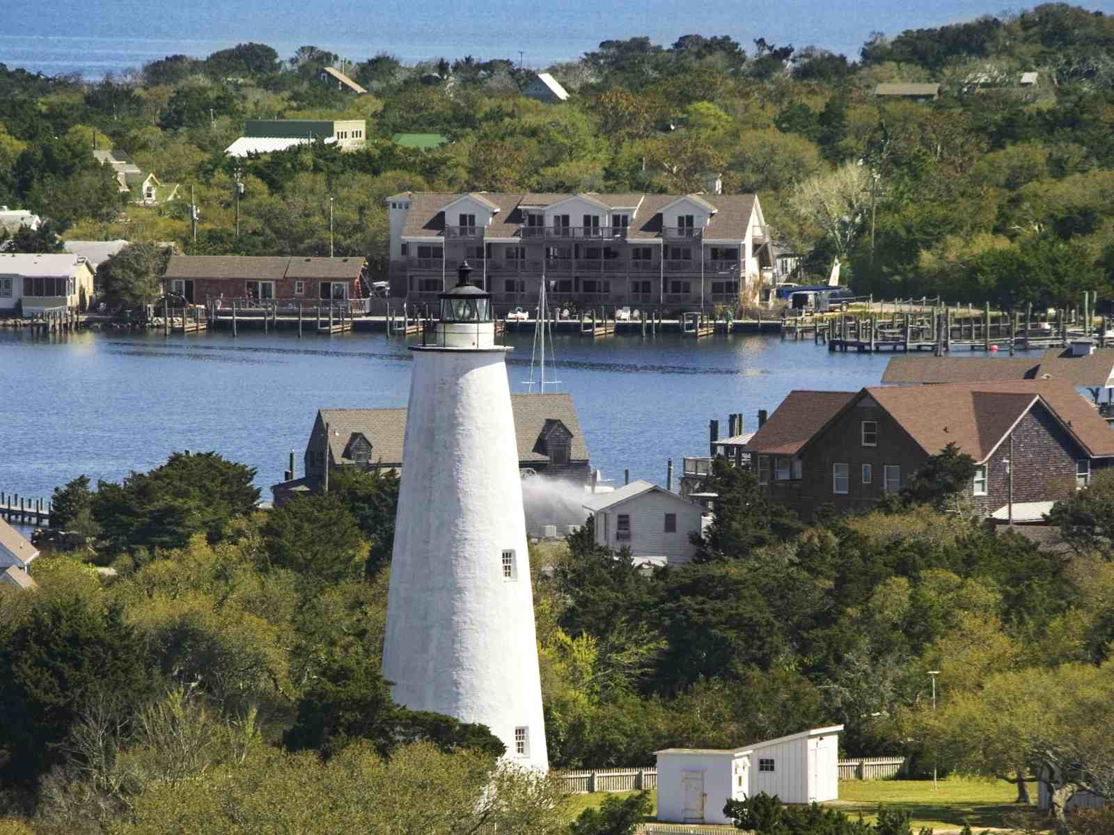 Aerial view of Ocracoke Lighthouse and Village