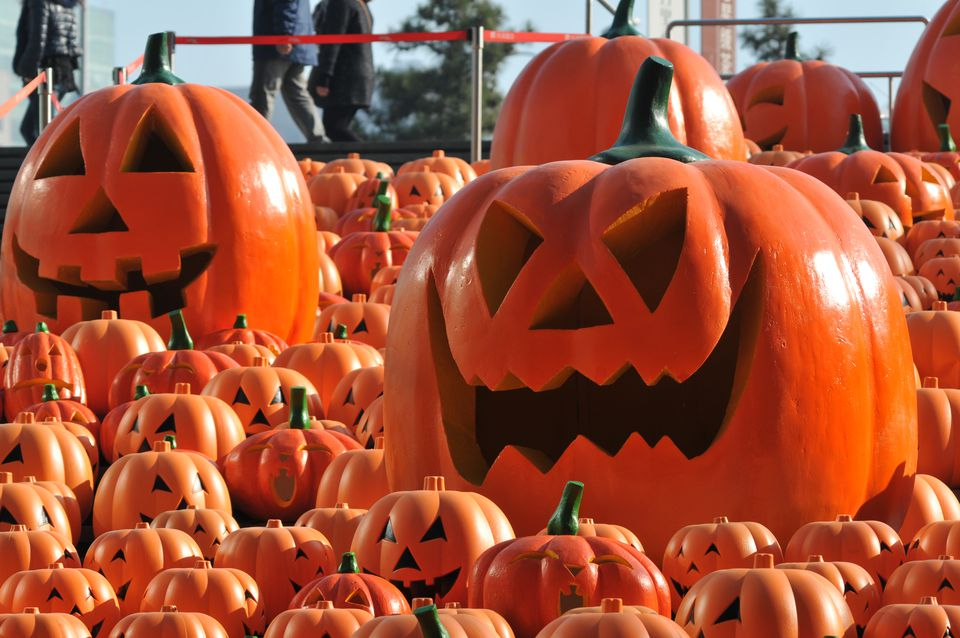 500 Jack-o-Lanterns on the steps of a shopping mall in Shenyang, Liaoning province, China