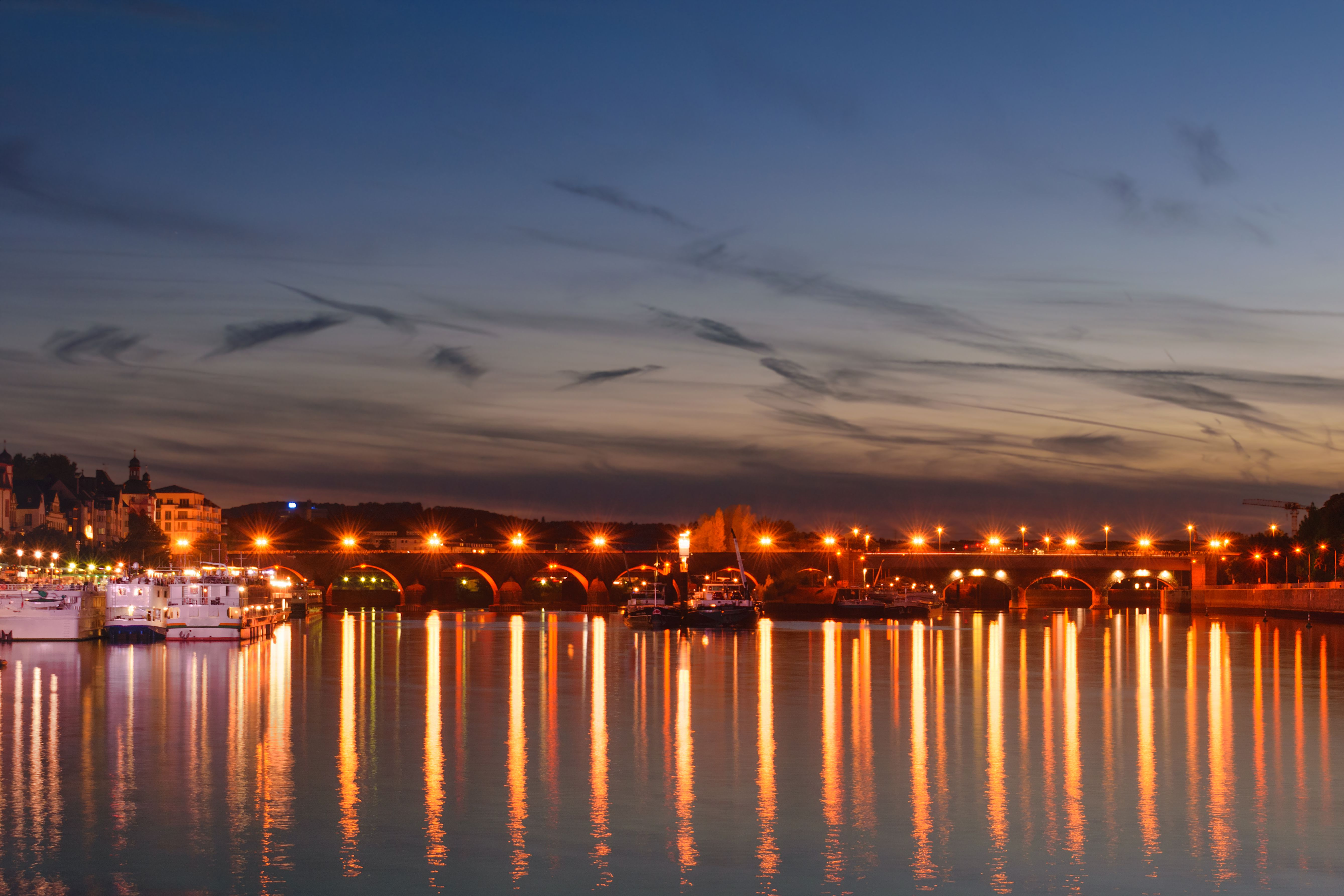 Night view of the Baldwin's bridge during the Rhine in flames festival