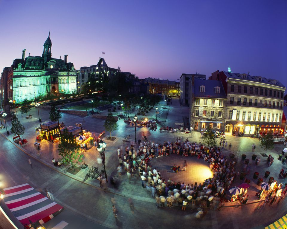 People at Place Jacques-Cartier and City Hall at Twilight, Montreal, Quebec