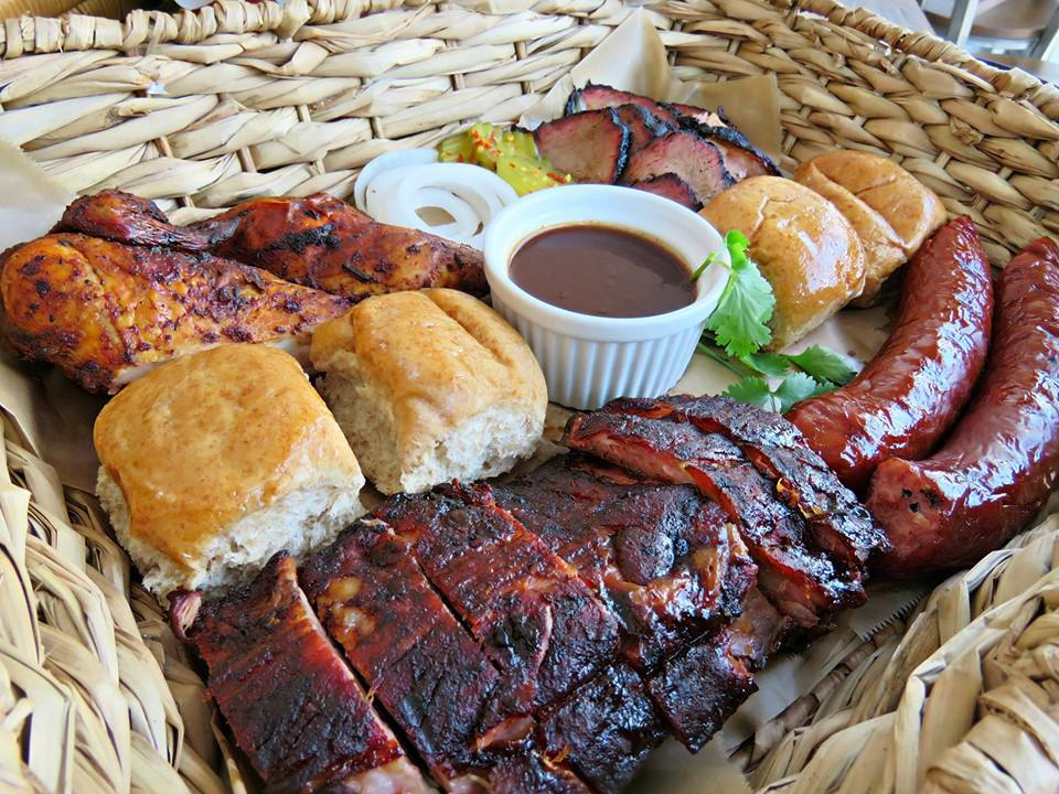Ribs, sausage, and biscuits