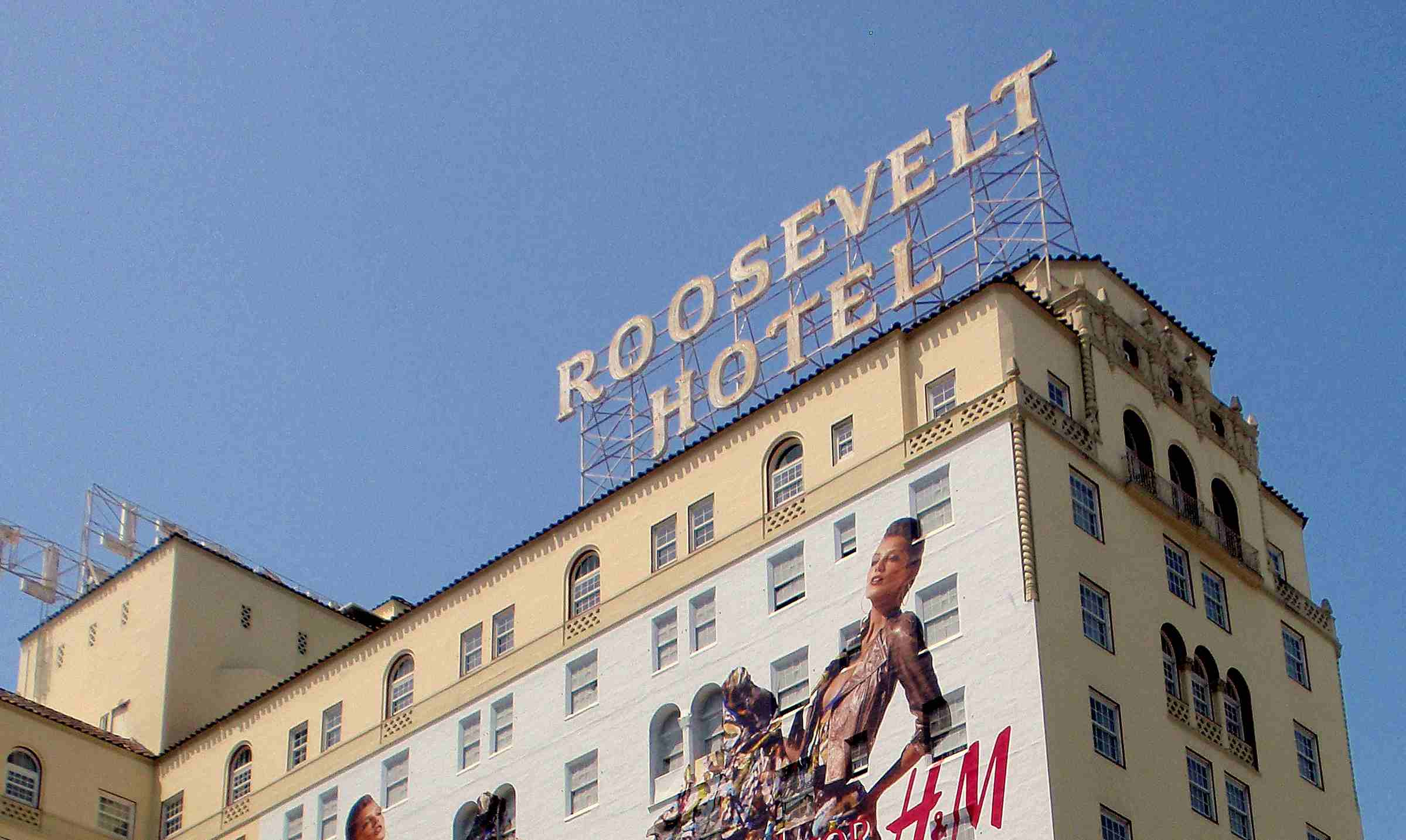 View of the Roosevelt Hotel sign