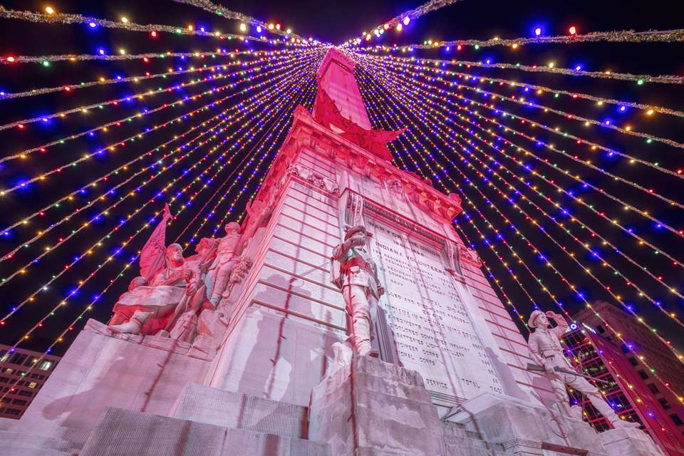 Christmas tree on Soldiers and Sailors Monument in Indianapolis