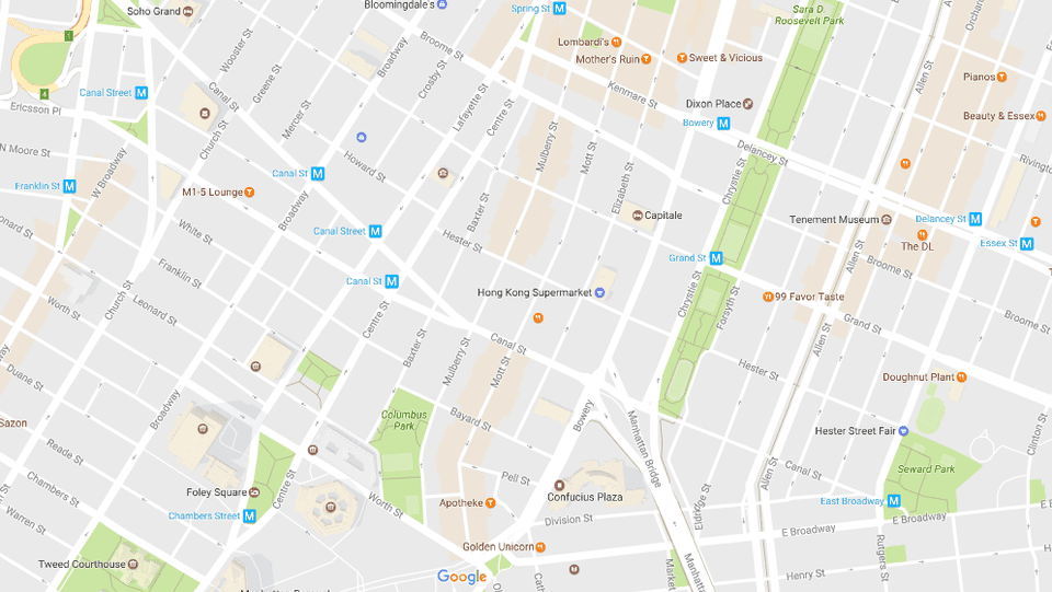 New York S Chinatown And Little Italy Neighborhood Map
