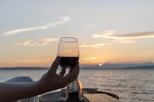 Seattle sunset with wine