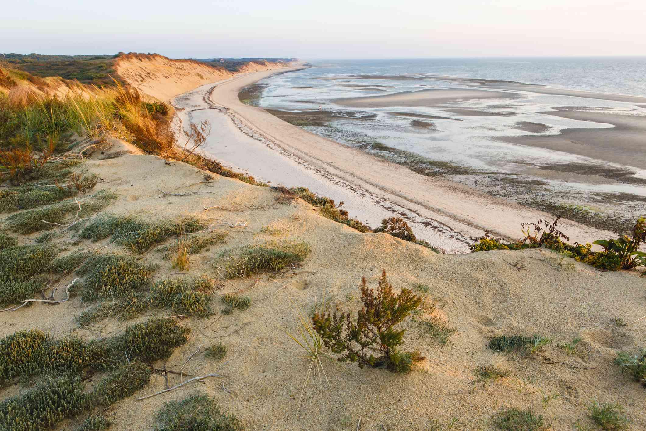 View from the dunes at Duck Harbor Beach, Wellfleet, Cape Cod National Seashore, Massachusetts, USA
