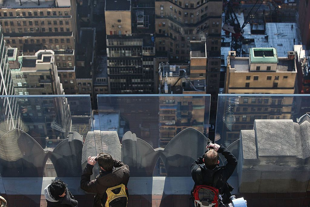 Visitors at the Top of the Rock