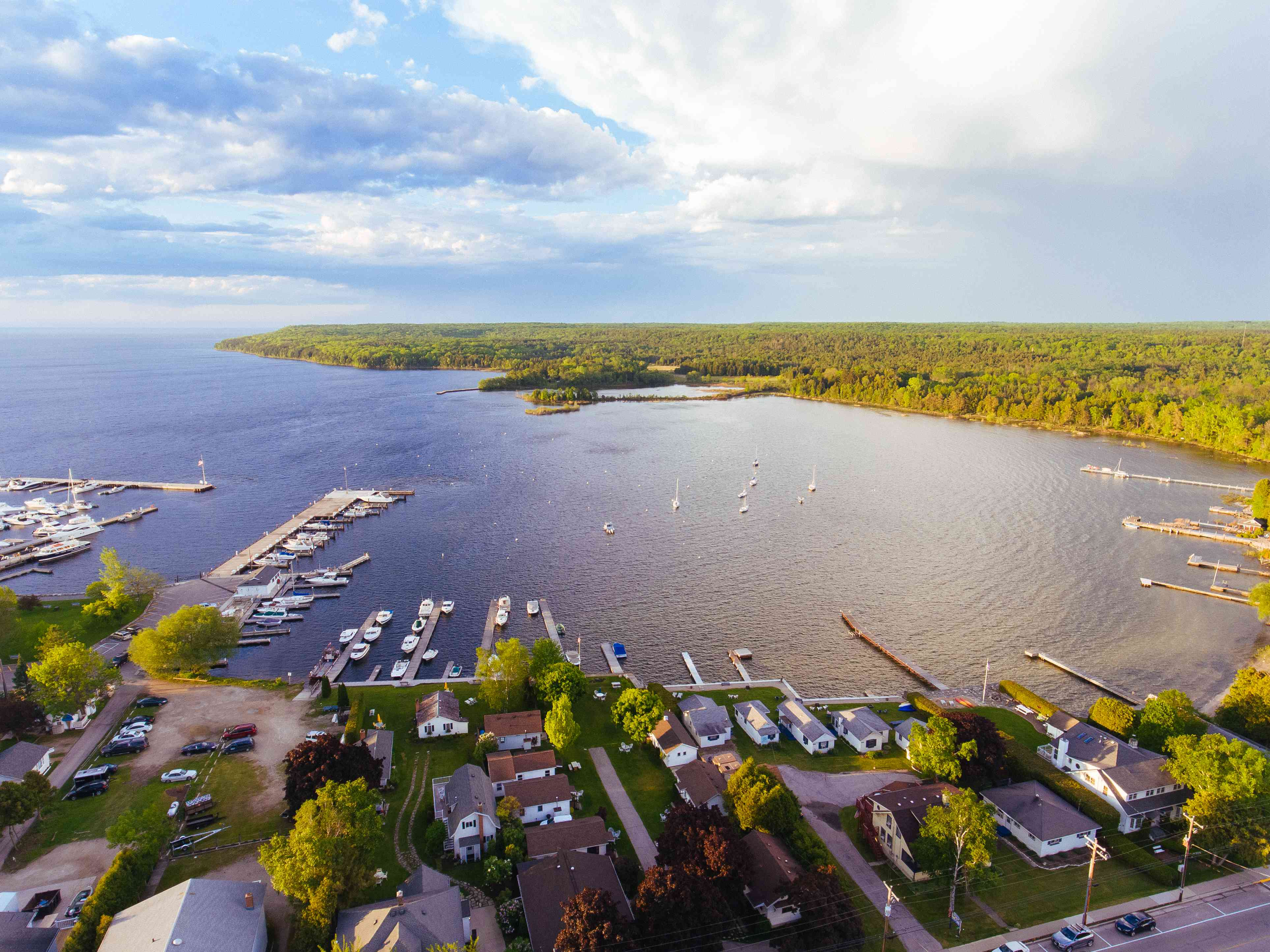 Downtown Fish Creek and Peninsula State Park in Door County Wisconsin by Aerial Drone