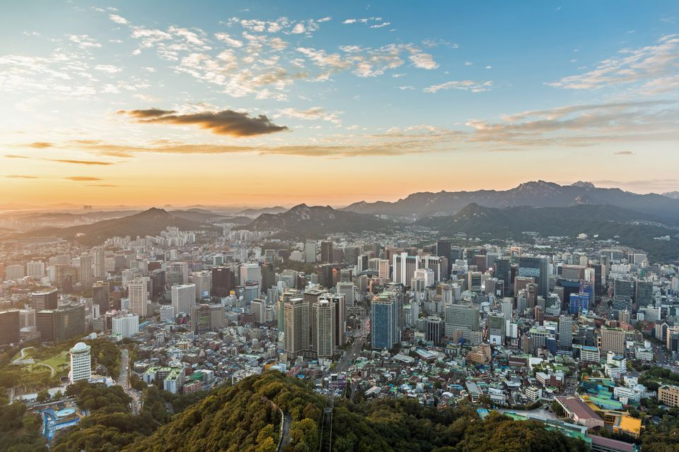 Seoul, as seen from Namsan Mountain.