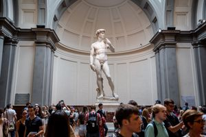 Michelangelo's sculpture David at Galleria dell'Accademia, Florence