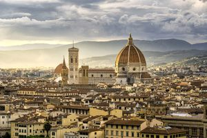Beautiful sunset cityscape view of the Santa maria nouvelle Duomo and the town of Florence, in the Italian Tuscany.