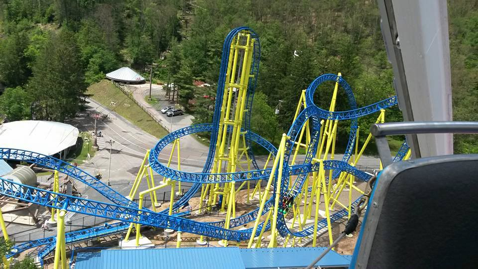 The Impulse is a roller coaster at Knoebels in Elysburg, Pennsylvania, United States. Seen from the Ferris wheel