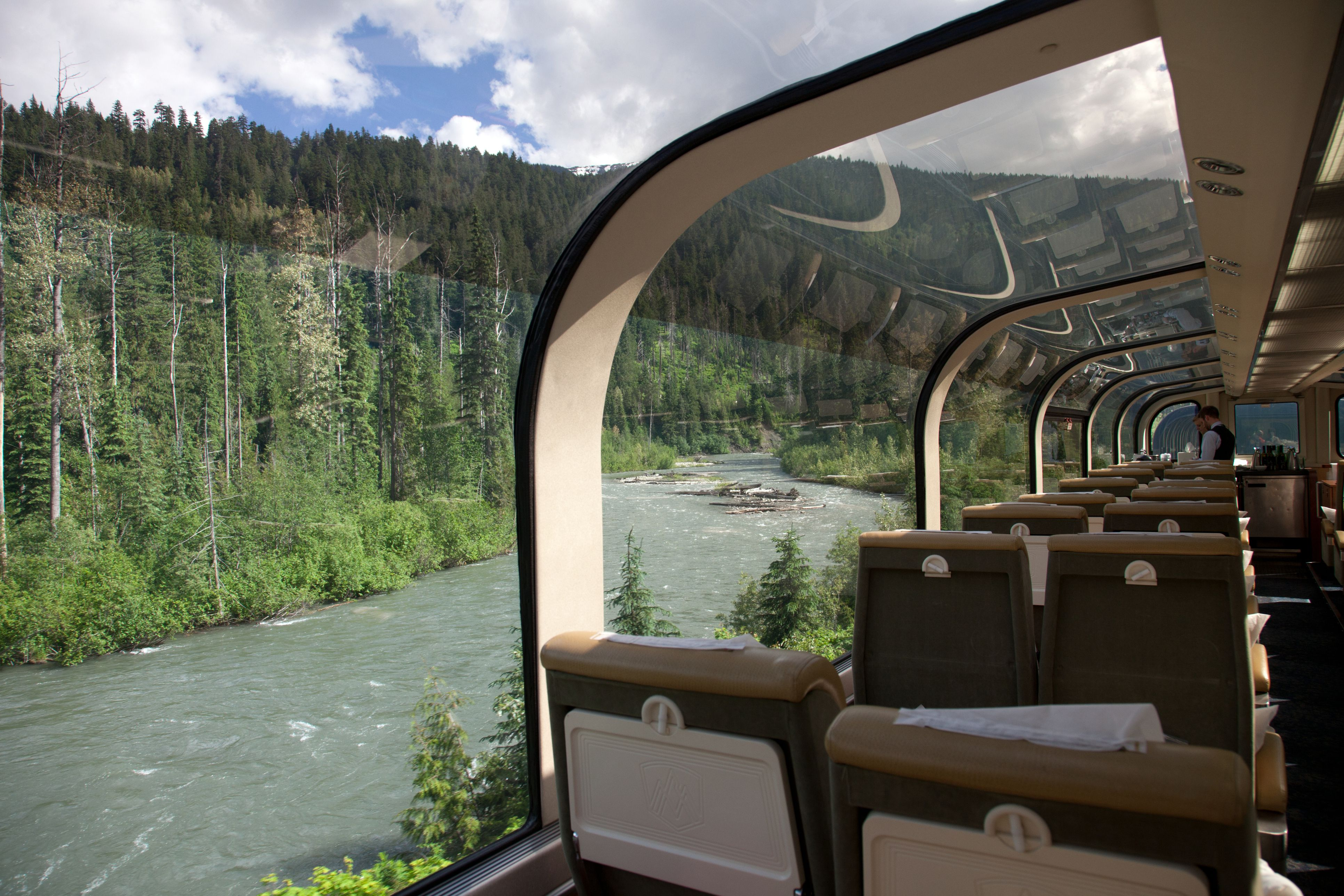 Rocky Mountaineer Gold Leaf Dome cars.