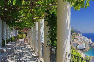 Amalfi village overview from Grand Hotel, Mediterranean area, Tyrrhenian sea, Peninsula of Sorrento, Salerno district