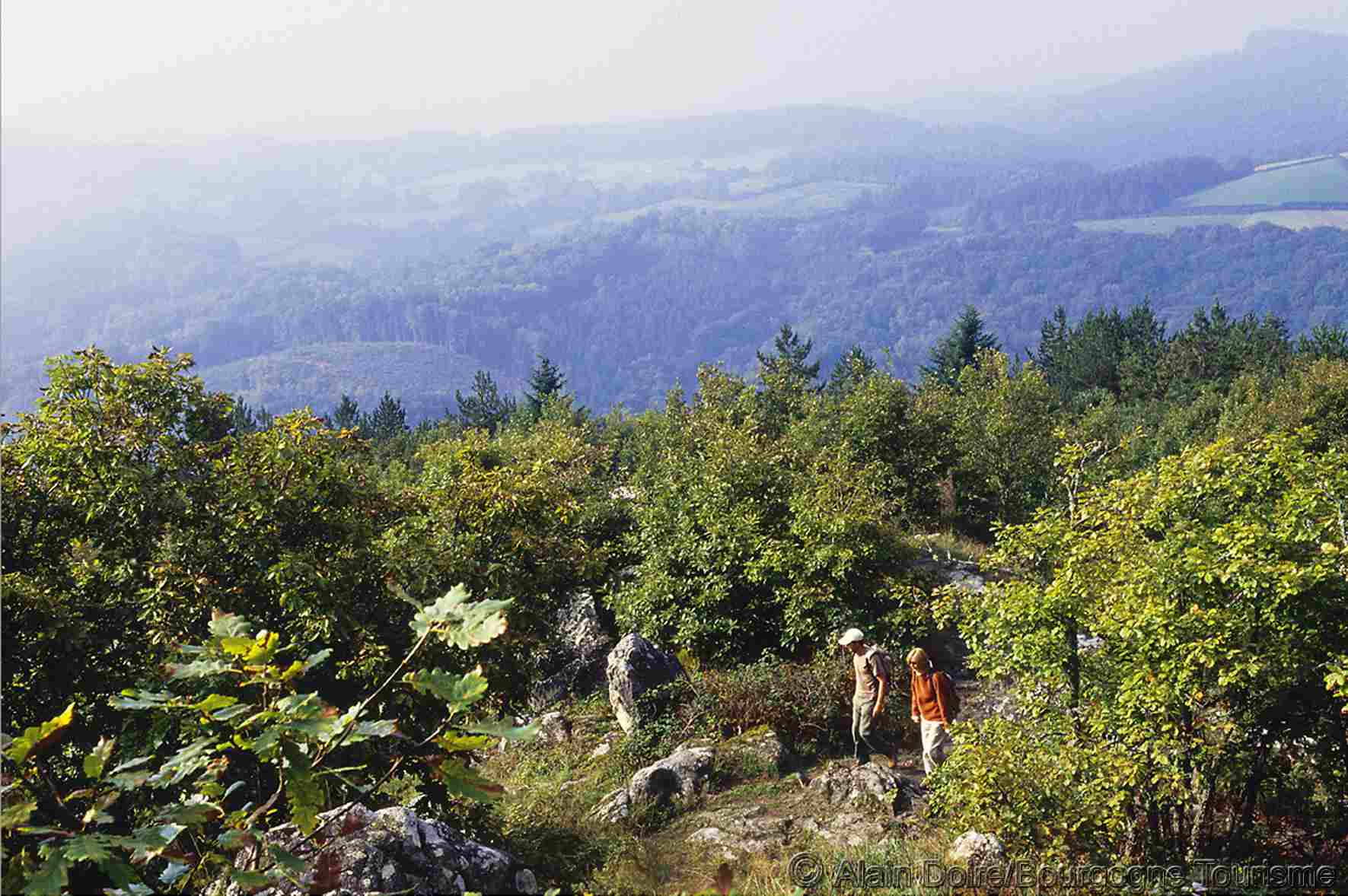 Hikers in the Morvan Hills in Burgundy