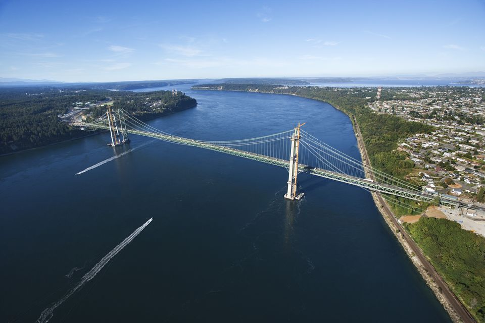 Vista aérea del puente Narrows, Tacoma, Washington