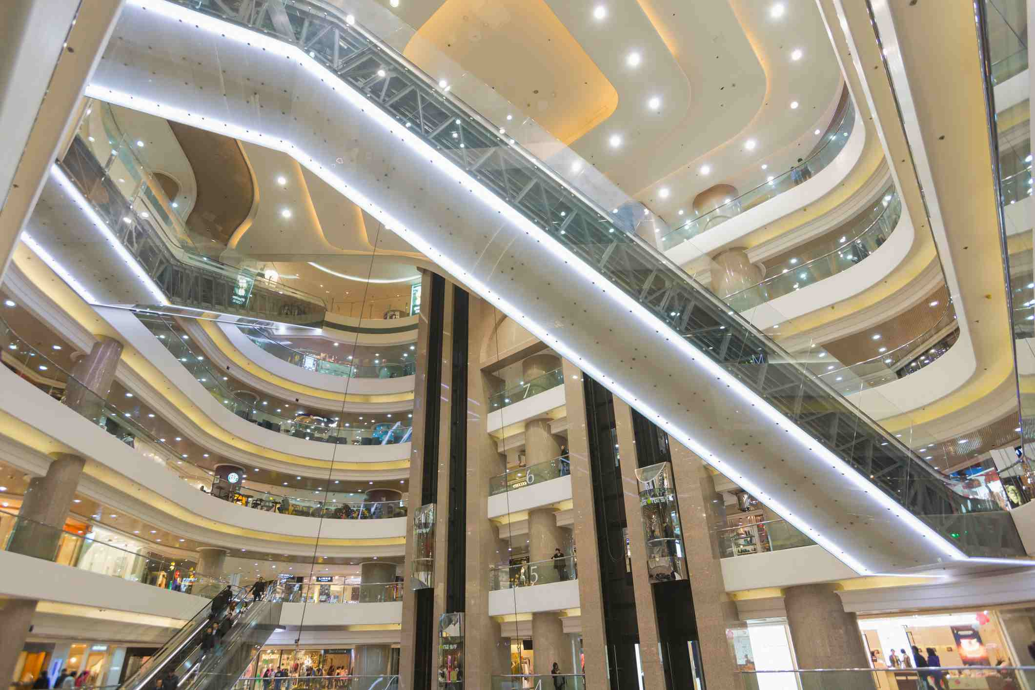 View of upper floors of Times Square shopping center, Hong Kong