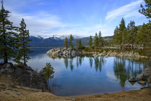 Lake Tahoe with snow capped mountain