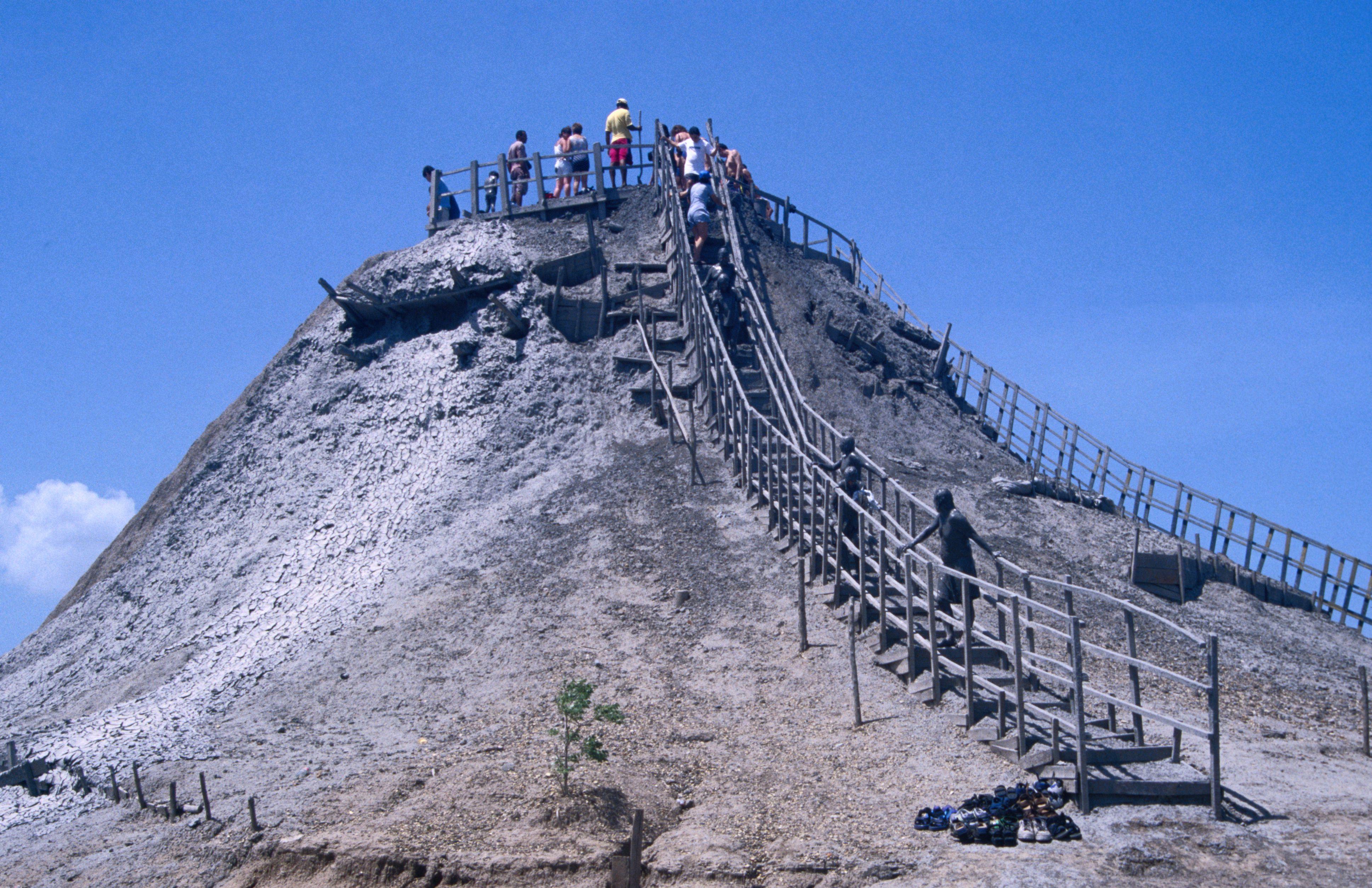 Volcan de Lodo El Totumo, an unusual 15m-tall mud volcano on the bank of a coastal lagoon near Cartagena, providing a unique healthy mud bath