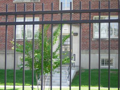 Behind this wrought iron fence is the entrance to the Presley's Lauderdale Courts apartment.