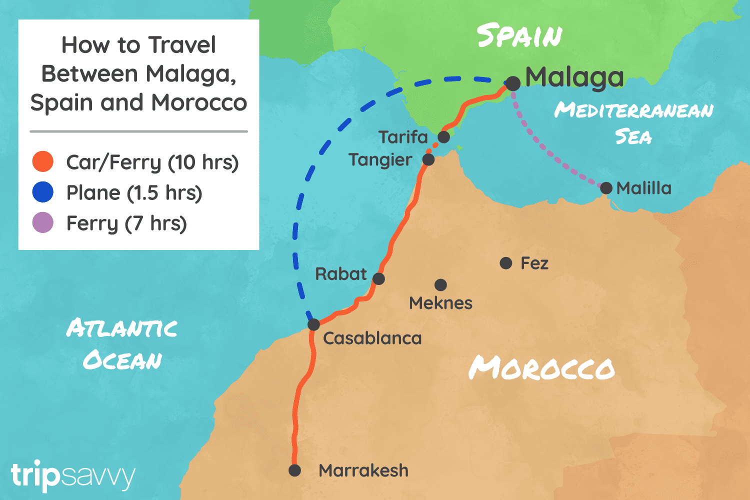 Spain And Africa Map.How To Get To And From Malaga And Morocco