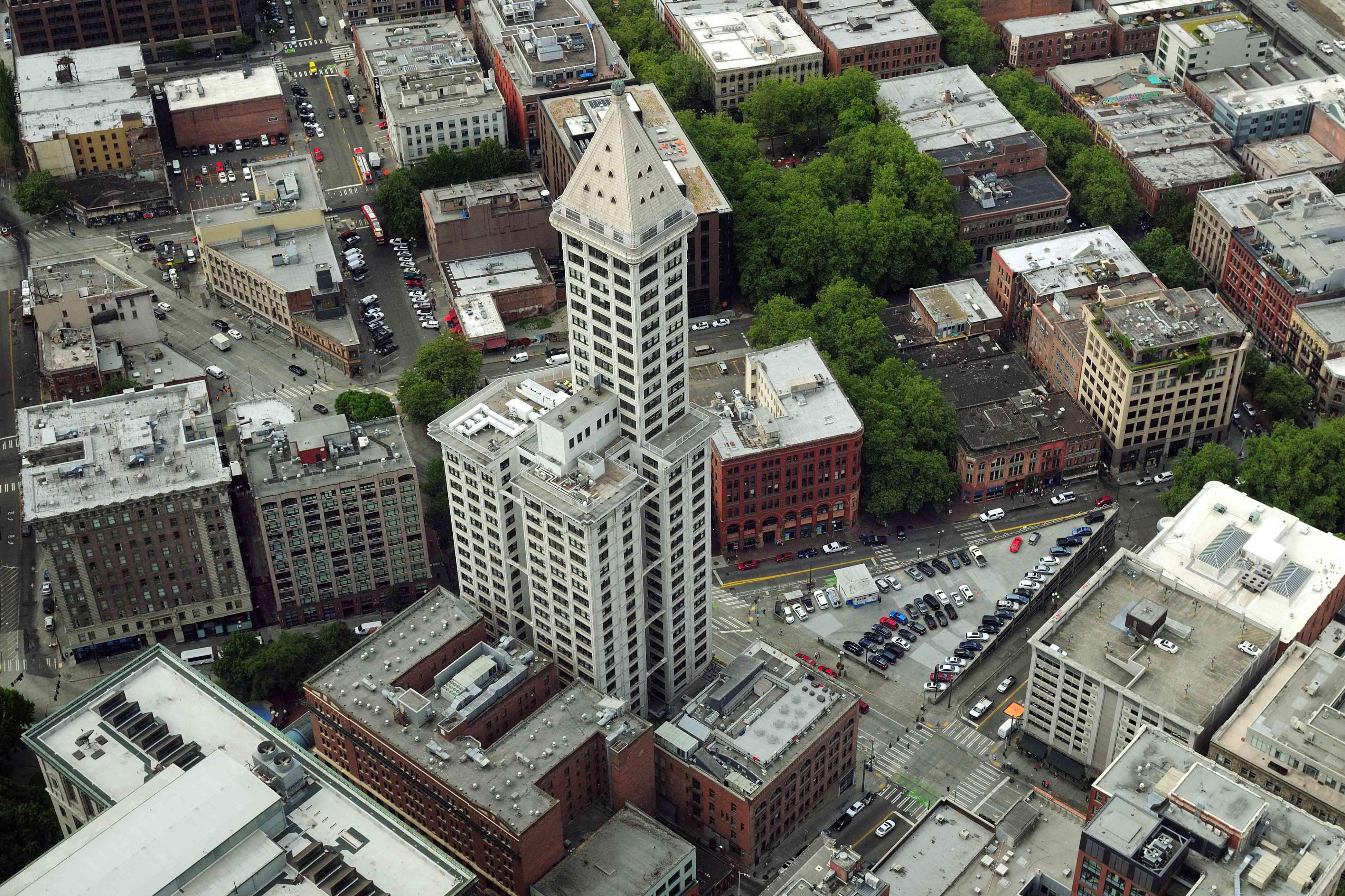 Bird's Eye View Of Smith Tower Washington USA