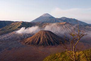 Smoke streams from Gunung Bromo Volcano, Indonesia