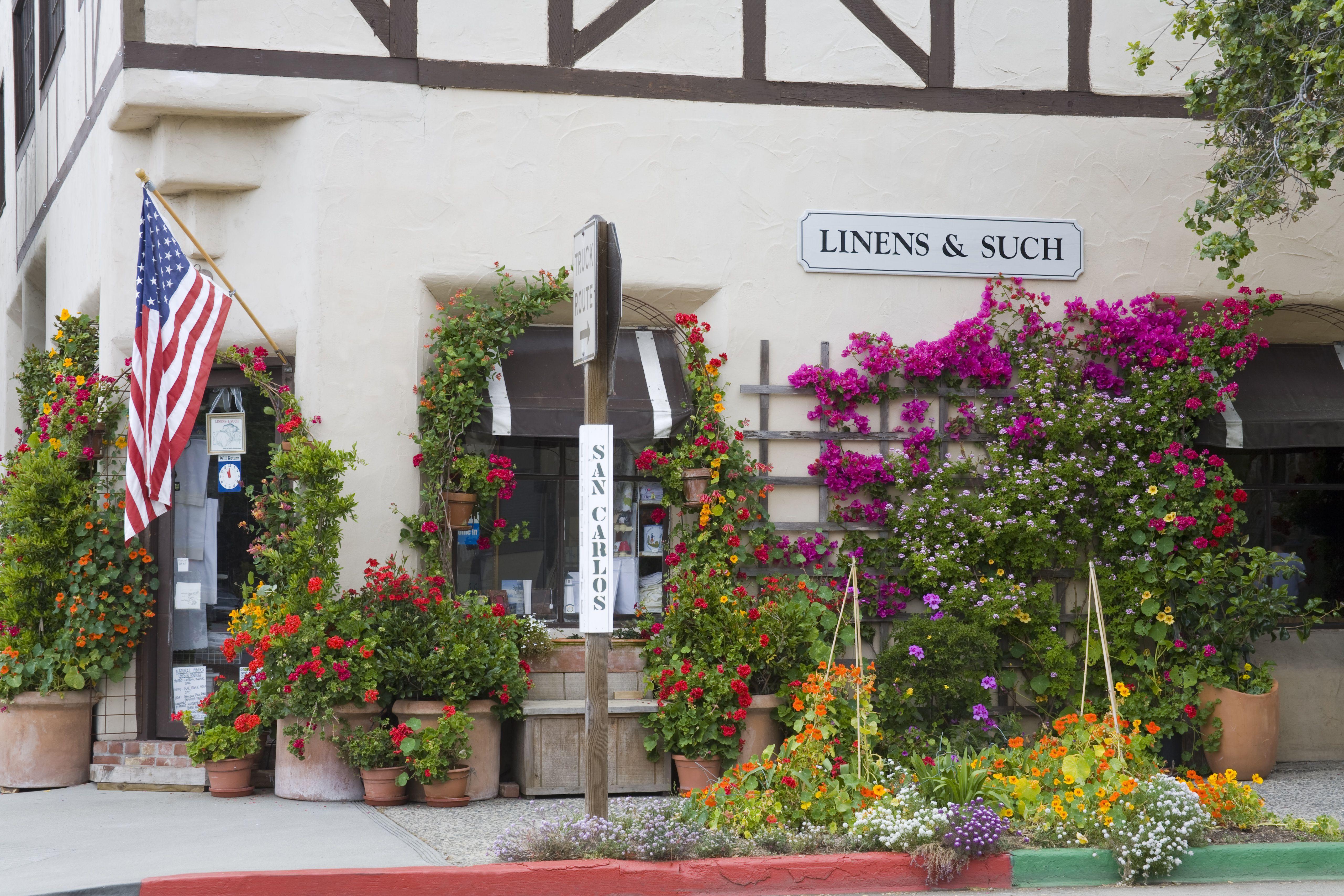 Flower pots outside shop on San Carlos Street.