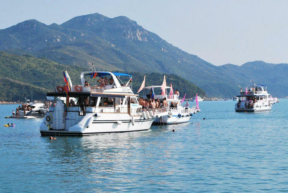 Boats floating during the Floatilla festival