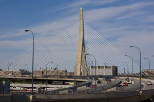 Traffic moves along Interstate 93 and the Zakim Bridge in Boston's North End