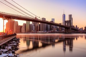 Manhattan sunset from Brooklyn Bridge Park