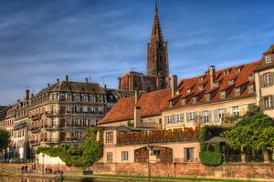 Strasbourg, France: Banks of the River Ill and Strasbourg Cathedral's Spire