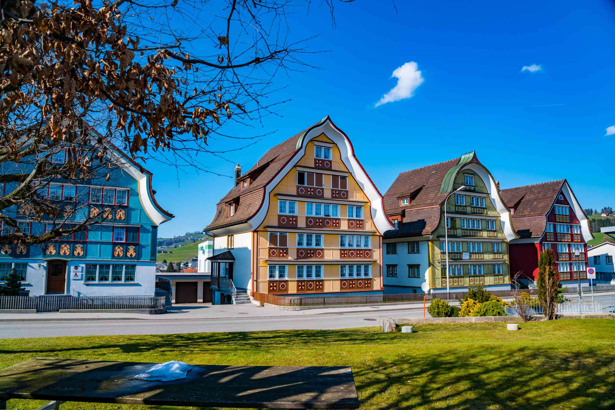 Colorful houses at Appenzell Village in Switzerland