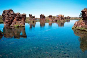 Rock formation in Myvatn lake