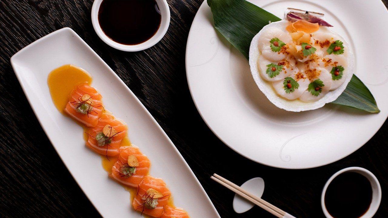 Trays of sashimi artfully placed