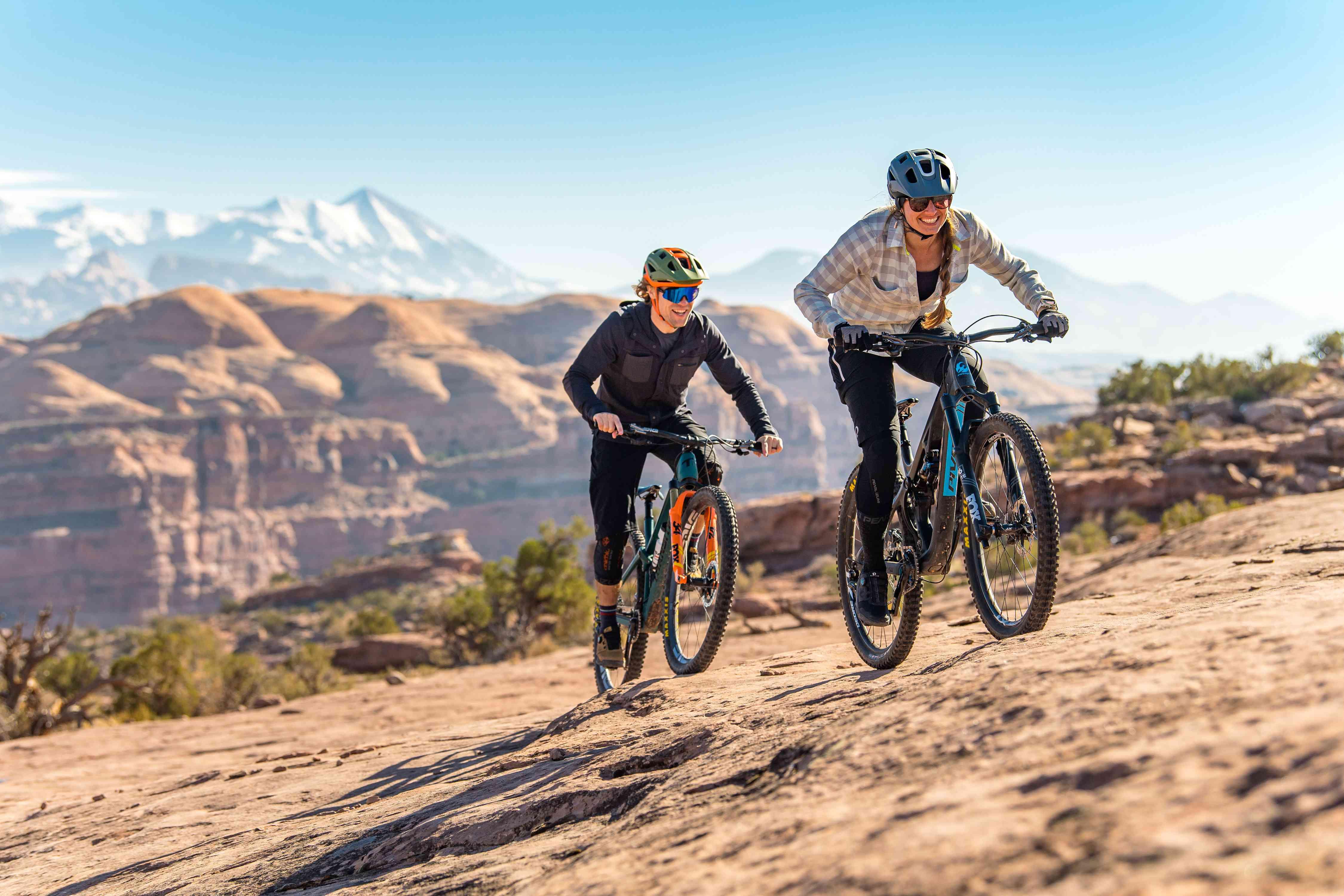 Mountain bikers wearing safety gear
