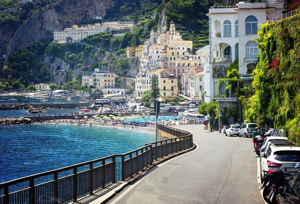 Driving into the Village of Amalfi on the Amalfi Coast of Italy