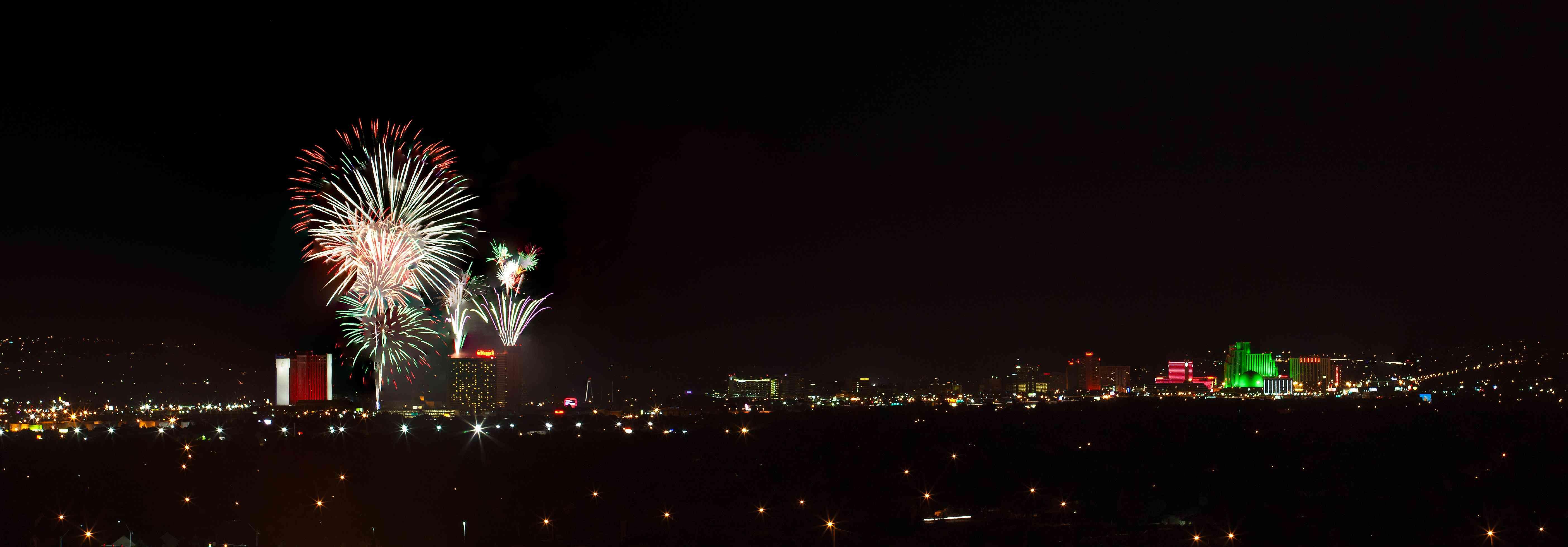 Fireworks over Reno, Nevada