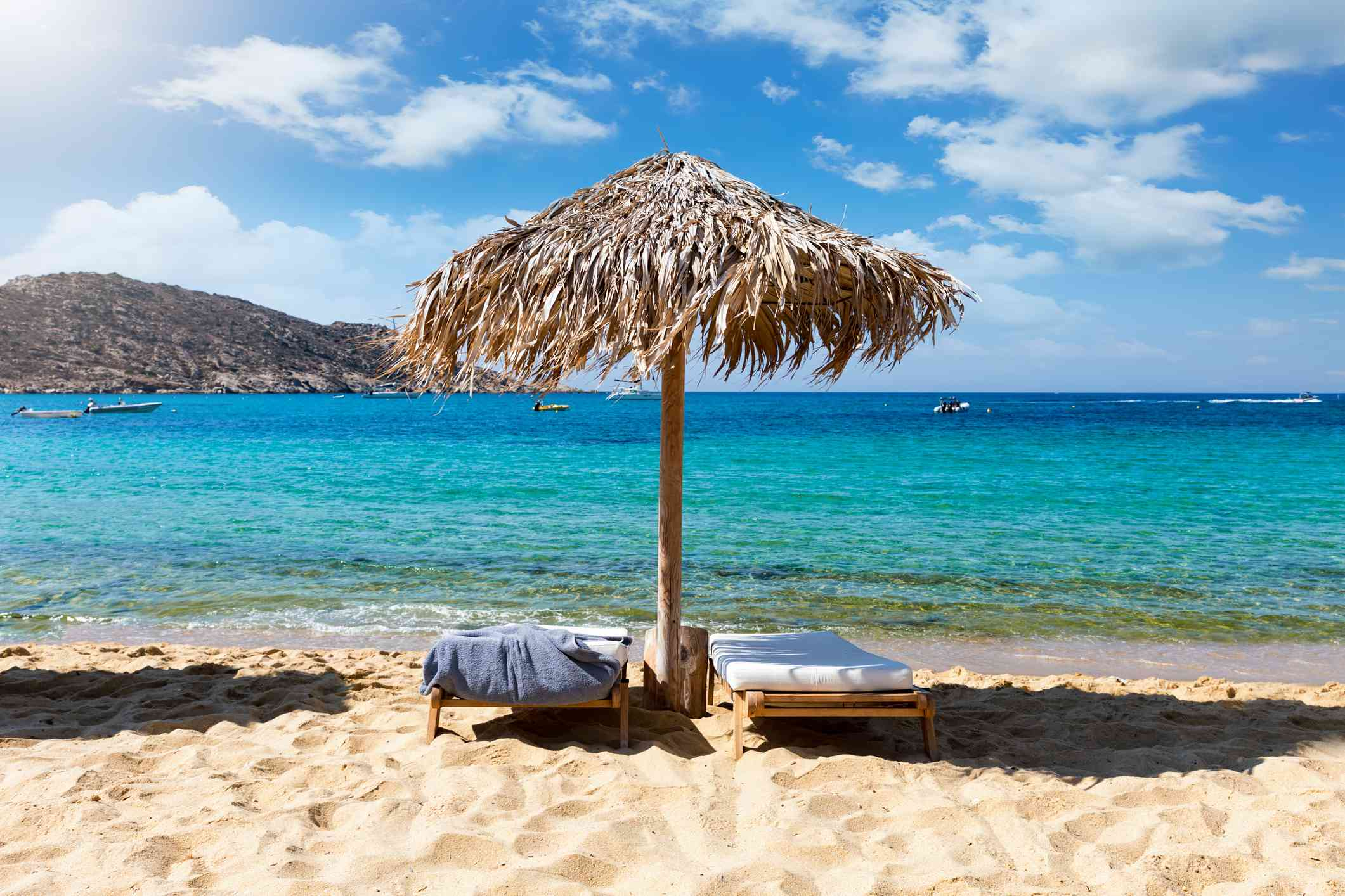 The famous Mylopotas beach on the island of Ios, Cyclades, Greece