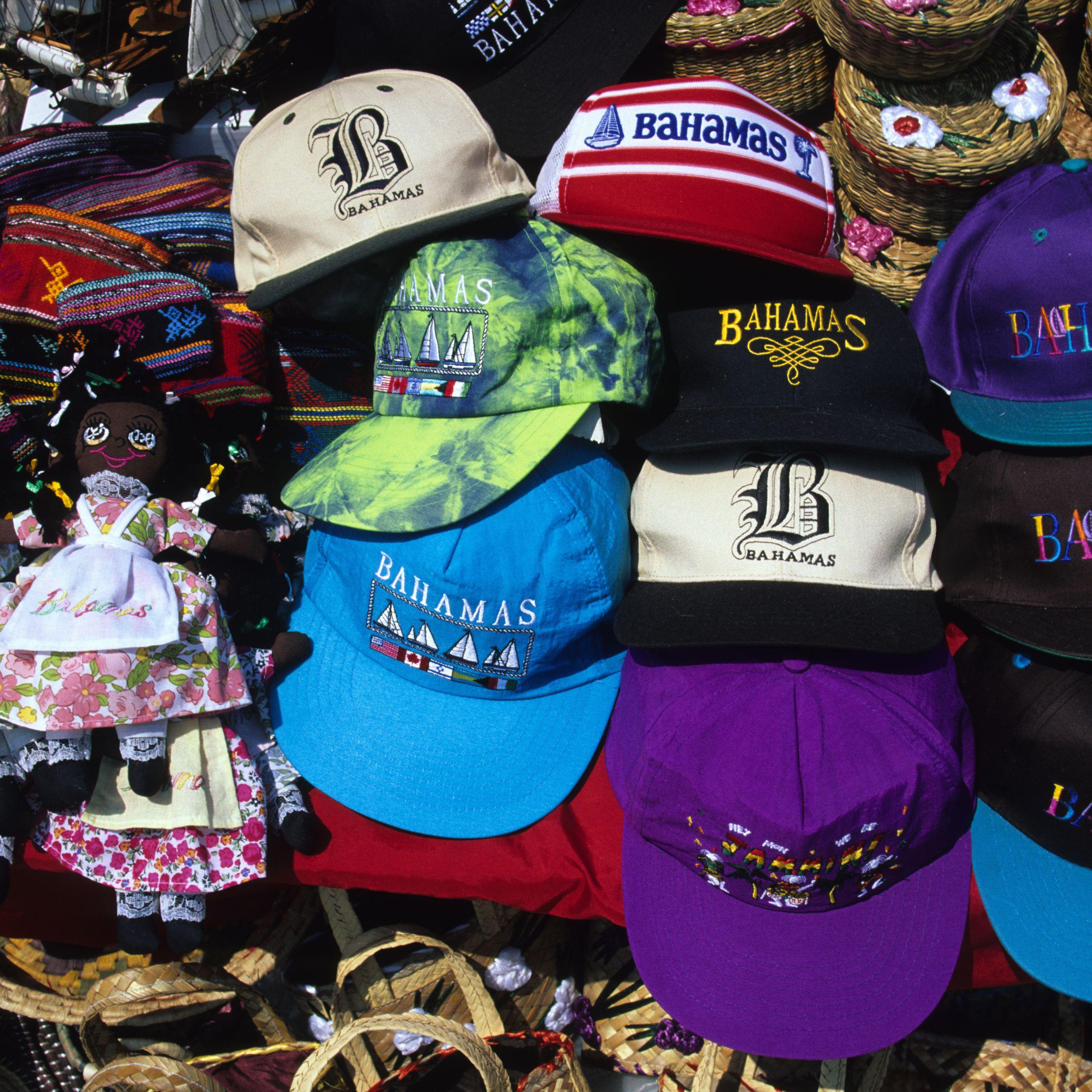 Various souvenirs at market stall in Nassau, Bahamas