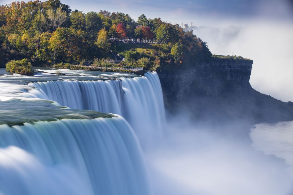 Canada and USA, Ontario and New York State, Niagara, Elevated view of Niagara Falls
