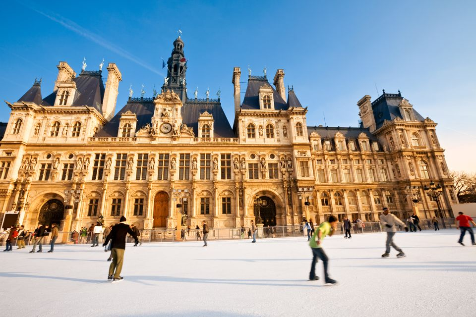 People ice skating at Paris town hall