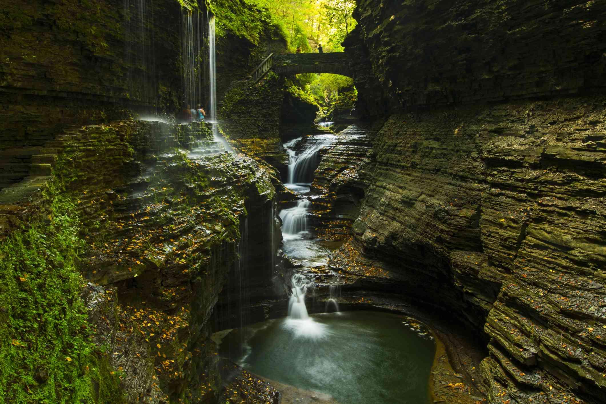 Gorge waterfall in Watkins Glen State Park